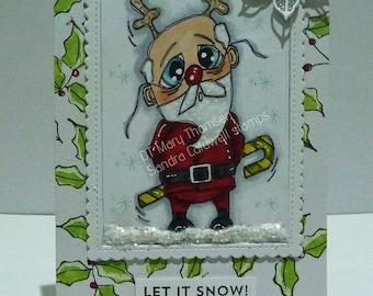 1944 Reindeer Santa Digi Stamp