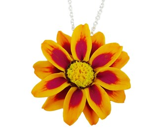 Yellow and Pink Gazania Flower Necklace - Gazania Jewelry