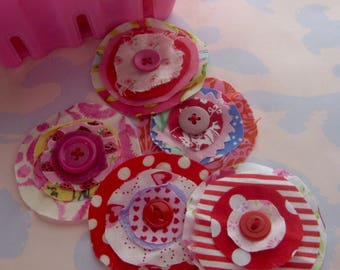 Frayed Fabric Flower Embellishments Set with Button Centers