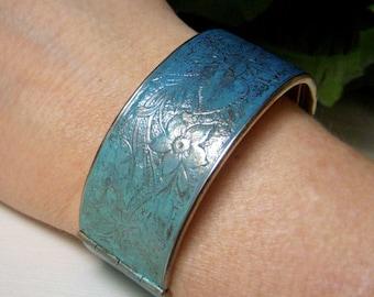 Ombre Cuff Bracelet, Hand Patina Bracelet, Vintage Brass Cuff, Floral Etched Hinged Bracelet, Upcycled Brass Cuff, Blue Ombre Patina