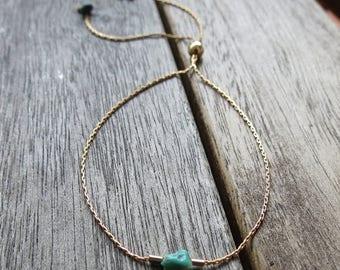ON SALE Thread Bracelet Skinny Bracelet Gold Filled Thread Turquoise Dainty Bracelet Adjustable Bead Pull Chain Friendship Bridesmaids Gift