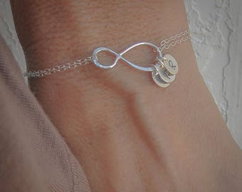 ON SALE Mothers Bracelet Gift with Initials, Up to FOUR initials of your choice, Sterling Silver Infinity Bracelet, Family Initials, Engrave