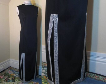 Vintage Shaheen Asian maxi dress Vintage 1970s Structured fitted long black dress Greek Key designs black Mandarin collar  M