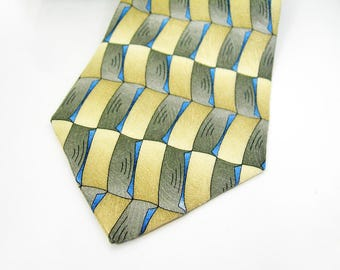 "Grateful Dead Mans Necktie - 100% Imported Silk - Hand Made - ""Start Your Engines"" Seventeenth Set - Olive Green, Tan, Blue Art Tie Fashion"
