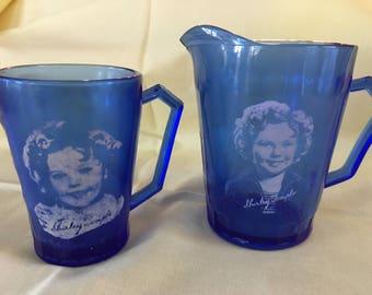 Shirley Temple 1930s Hazel Atlas Cobalt Blue Glass Pitcher & Mug Set Vintage 2pc