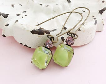 Lime Green Dangle Earrings, Romantic Rhinestone Vintage Glass Earrings , Retro Crystal Dangles, Glamor Gift for Girlfriend