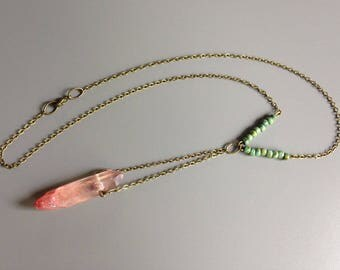 raw crystal quartz necklace/metallic coral pink/turquoise beads/antiqued brass chain/statement necklace