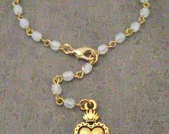 Milagros Sacred Heart Bracelet Opal Glass Beads and Gold Heart Love Jewelry By Red Gypsy Jewelry