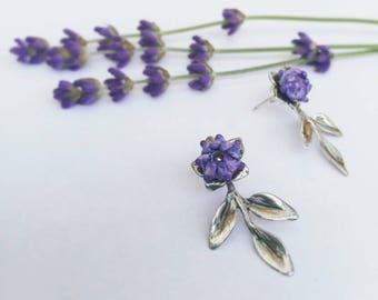 Lavender Ear Jacket Handmade Lampwork Glass Bead & Sterling Silver Post Earring Studs