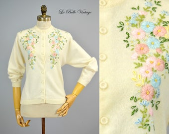 Silk Ribbon Embroidered Cardigan S M Vintage 60s Creamy Soft Angora Floral Sweater