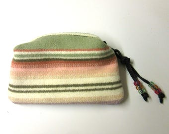 Zippered Pouch Accessory Organizer Change Purse Coin Pouch  Pretty Pastel Southwest Wool