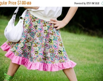 SALE Ruffled Circle Skirt Pattern with Tutorial sizes 3m - 8 girls PDF Instant