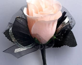 Light Peach Silk Rose Boutonnière