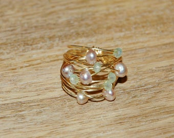 Pink Pearl Gold Handmade Ring / Gold Wire Wrap Pearl Ring / Gold Wire Wrapped Ring with Pink Freshwater Pearls Light Green Crystals