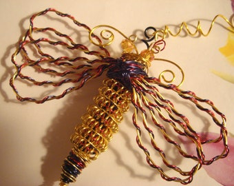 "My #10399 Thick Gold Dragonfly! Large Ornament/Suncatcher -number 10399 Size:4Wx5""L--very pretty!"