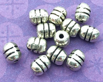 12 Barrel Beads, Metal Beads, Silver Plated, 6mm, Silver Tone, Tube Beads, 6mm Spacer Beads, Silver Beads, DIY Jewelry - TS701B
