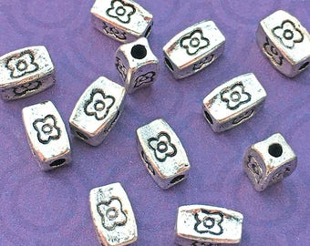 12 Rectangle Tube Beads Silver Plated Metal 8mm x 5mm Silver Tone Floral Spacers Unique for DIY Jewelry - TS240B