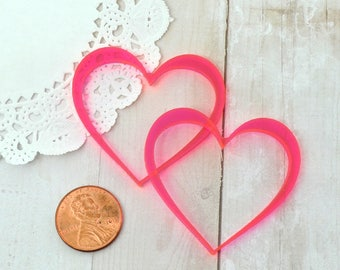 NEON PINK HEARTS - Cut Outs - Laser Cut Acrylic - Clear Hot Pink