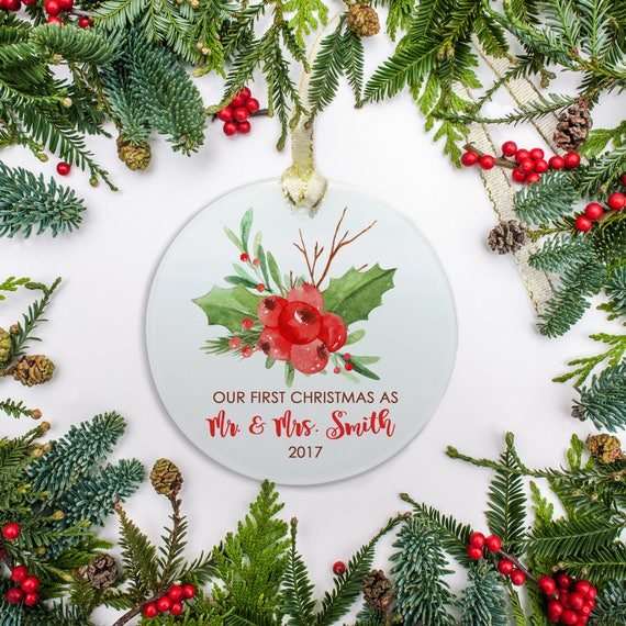 Wedding Ornament, Personalized Wedding Gift, Newlywed Christmas ...