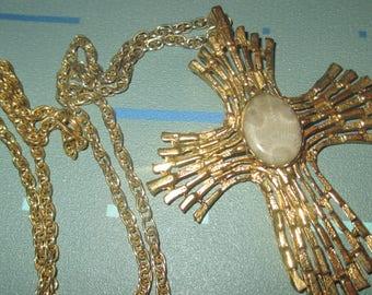 Vintage MOD 60s Petoskey Stone Cross Pendant Necklace