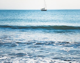 "Beach Photography - Blue Wall Art - Sailboat Print - Beach House Decor -  Nautical Wall Art ""Resting In The Bay"""