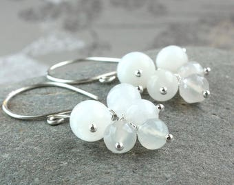 White Moonstone Cluster Earrings Sterling  Silver  June Birthstone  Earrings Gemstone Jewelry  Made For Her Handmade Accessories