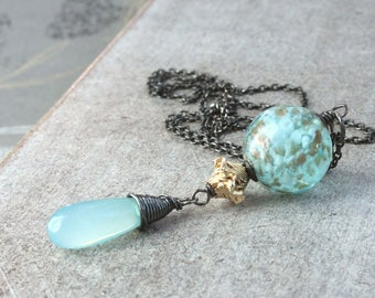 Chalcedony And Lampwork  Necklace  Sterling  Silver Handmade Jewelry  Turquoise Pendant   Gifts For Women Mixed Metal Necklace