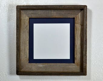 Natural picture frame 8x8 with dark blue mat for 6x6 photo complete 20 mat colors to choose from free US shipping