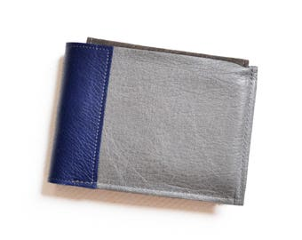 Mens Leather Wallet, Bifold Leather ID Card Holder Wallet, Leather Card Wallet, Monogram Gift - The Wesley Wallet in Grey and Royal Blue