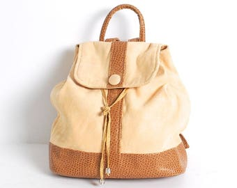 YELLOW faux suede vegan ostrich leather 90s mini BACKPACK