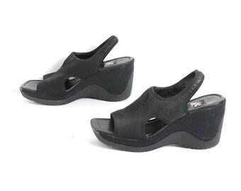 size 9 PLATFORM black foam NEOPRENE cut out 90s WEDGE rubber slingback heels