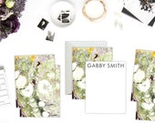 Greens + Dark Purple Marble Custom Stationery | Flat Notes |  Set (10)