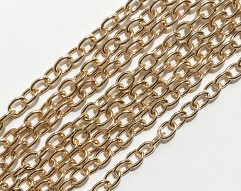 10 ft  light Gold plated steel round cable chain 4X5mm , gold bulk chain