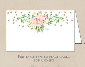 Printable Place Cards - Gold Confetti and Blush Floral Design - DIY Seating Cards, Escort Cards - Design only - PDF and JPG
