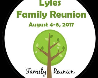 "Personalized Round Stickers - Family Reunion - Summer Party - FOUR Sizes Available (2.5"",2"",1.5"",1"")"