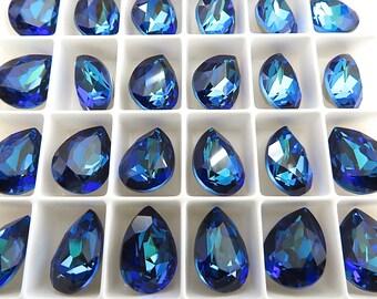 SALE 6 Bermuda Blue Swarovski Crystal Stone Pear 4320  14mm x 10mm