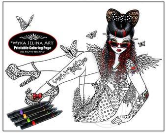 Toni - Rockabilly Angel - Digital Download - Coloring Page - Myka Jelina - Rose Tattoo - Butterflies - Polka dots