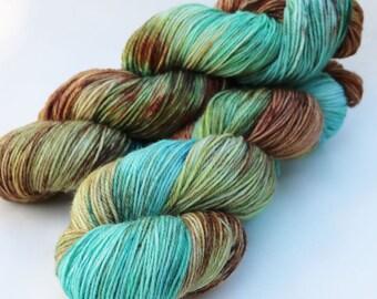 "Hand-dyed Superwash Merino Nylon Sock Yarn, 430 yards 4 oz,  fingering weight, Teal Aqua Brown Olive Green ""Patina"""