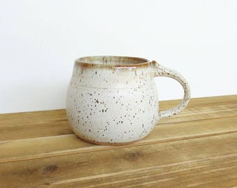 Pottery Mug, Stoneware Coffee Cup in Satin Oatmeal Glaze
