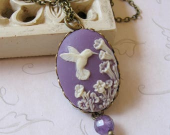Hummingbird cameo necklace, pendant, purple necklace, white flowers, calla lily flowers