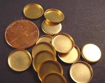 24 Brass Round Bezel Cups 11mm High Wall