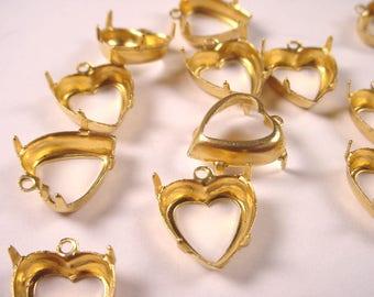 18 Brass Heart Prong Settings 12mm 1 Ring Open Backs
