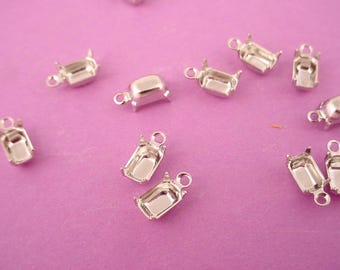 18 silver tone Octagon Prong Settings 6x4 1 Ring closed  Back