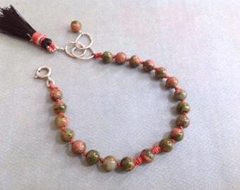 Unakite Bracelet - Tassel Bracelet - Green Pink Bracelet - Silk Knotted Bracelet - Earthy Bracelet - Boho Bracelet - Orange Green Bracelet