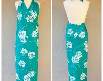 30% OFF 1970s batik wrap dress / AQUA beach cover up / Hilo Hattie, Hawaii / turqoise floral sarong / one size