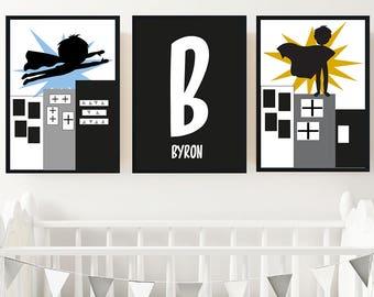 Monochrome Superhero Boy's Personalised Nursery or Bedroom Print Set