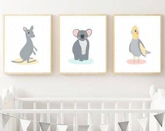 Kangaroo, Koala & Cockatiel Australian Animal Personalised Print Set Instant Download