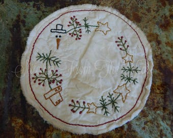 Hand Stitched SnowmanTree Candle Mat - Christmas - Snowman - Christmas In July