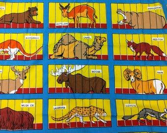 Barnum & Bailey Circus Animal Crackers Flat Sheet, Circus Sheet, Twin Sheet, Vintage Linens, Animal Sheet, Springmade