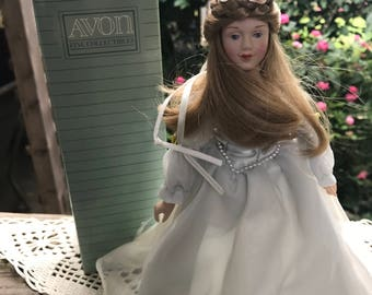 Vintage New in Box Avon Fairy Princess Porcelain Doll on Stand with Original Box
